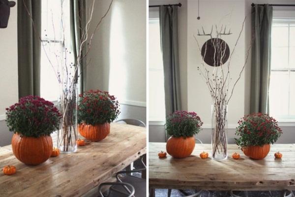 zucche Stunning-flower-pots-pumpkins