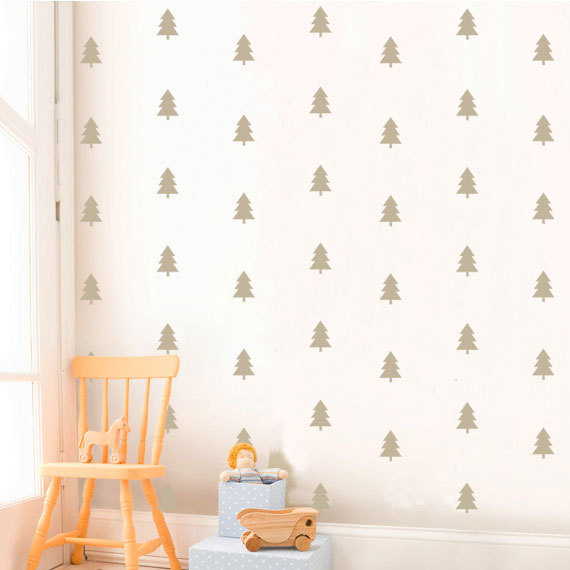 carta da p Silver Pine Tree Nursery Wall Decal, di KidODesignStudio su Etsy
