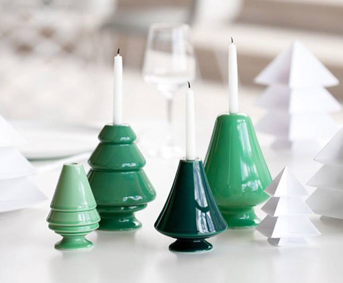 creaz I portacandele in ceramica a forma di alberelli, sempre della Kähler Design