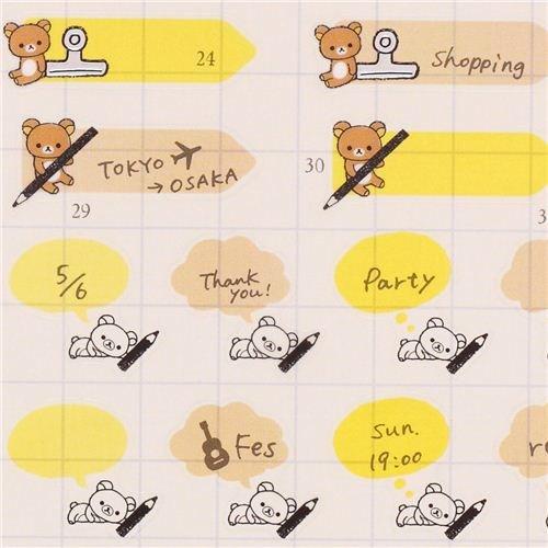 molto trandi gli stickers per èpersonalizzare l'agenda in stile guapponese adesivi Rilakkuma Factory penne clip calendario dal Giappone