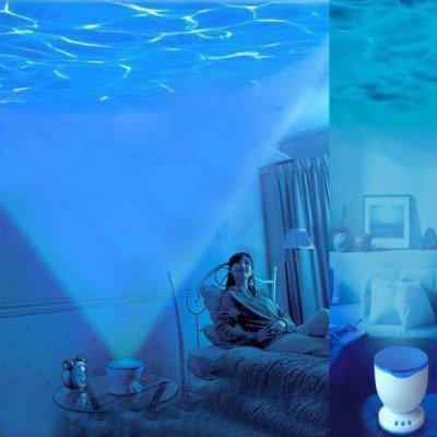 relax FLY-SHOP-Talento di Onde Oceano - Proiettore di Luce Notte + Atmosfera Romantico + Effetto di Onde Oceano + Mini MP3 Altoparlante