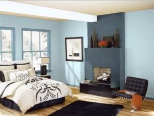 2 colori simili Stanza-da-letto-Pareti-azzurre