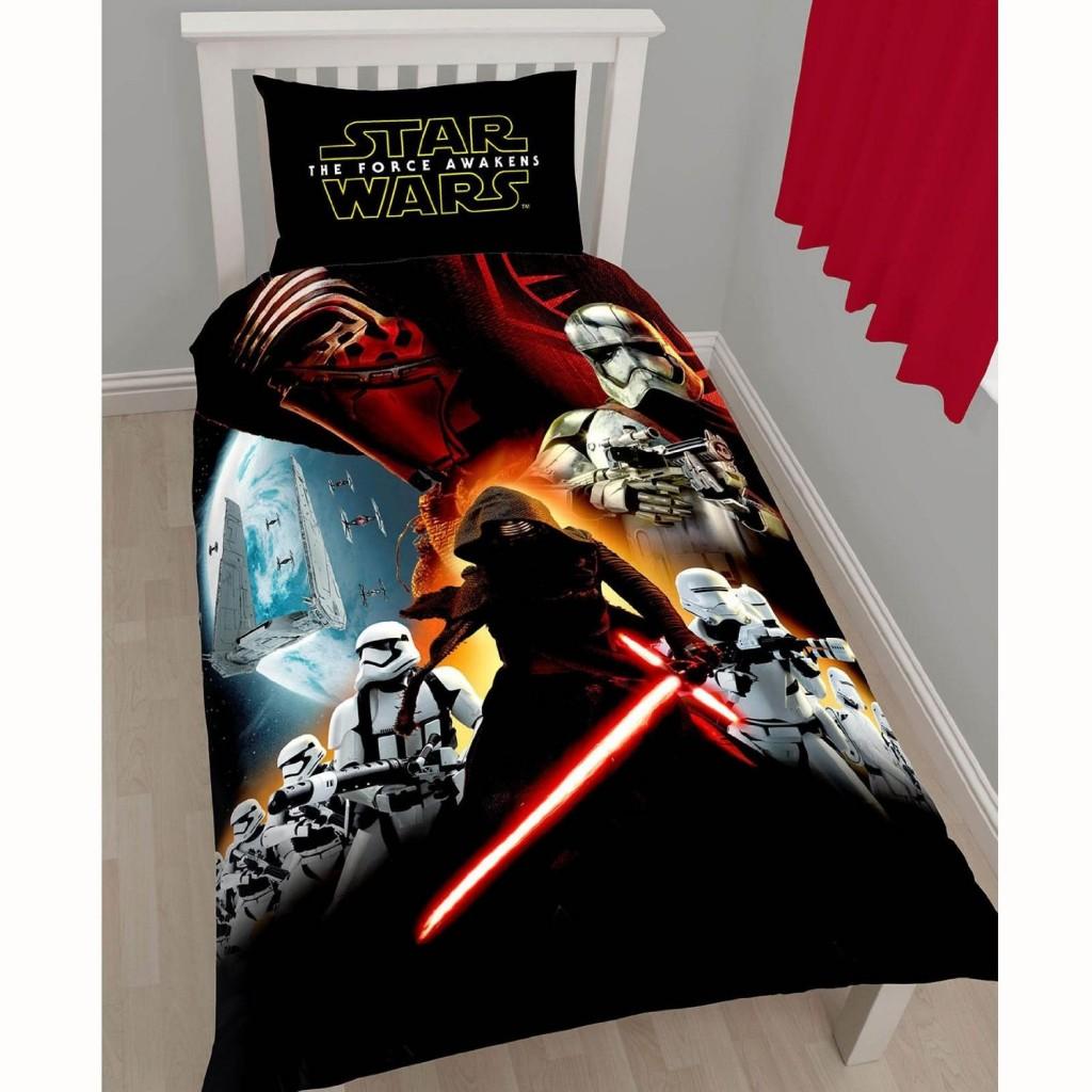 .amazon Star Wars - Set copripiumino e federa copricuscino per letto singolo, tema Star Wars Il risveglio della Forza