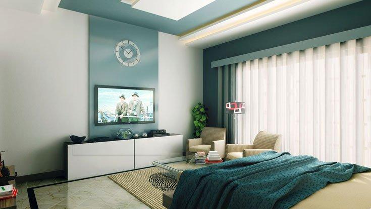 soffitto parete Pareti-camera-da-letto-smeraldo