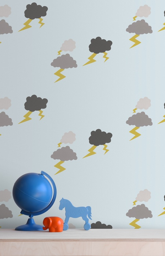 Kids Designer Wallpaper-Bainesandfricker Thunderclouds-Wall Library copy