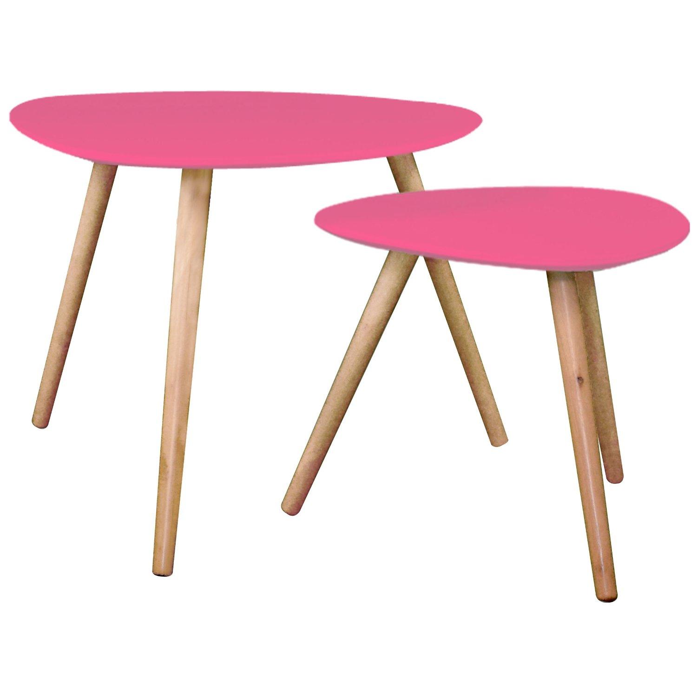 .amazon tavolino rosa set Set di 2 sovrapponibili, perfetti in ogni stanza della vostra casa