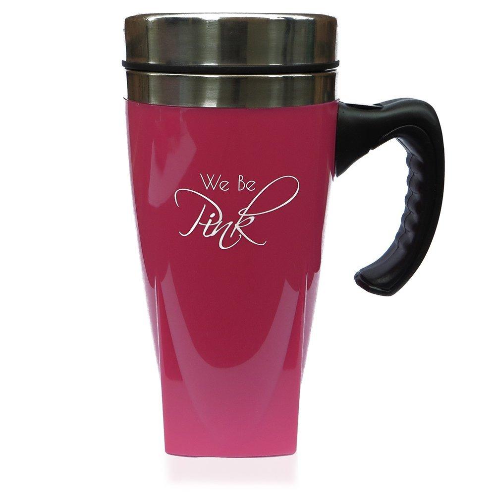 .amazon tazza rosa da viaggio  con coperchio, manico in acciaio INOX