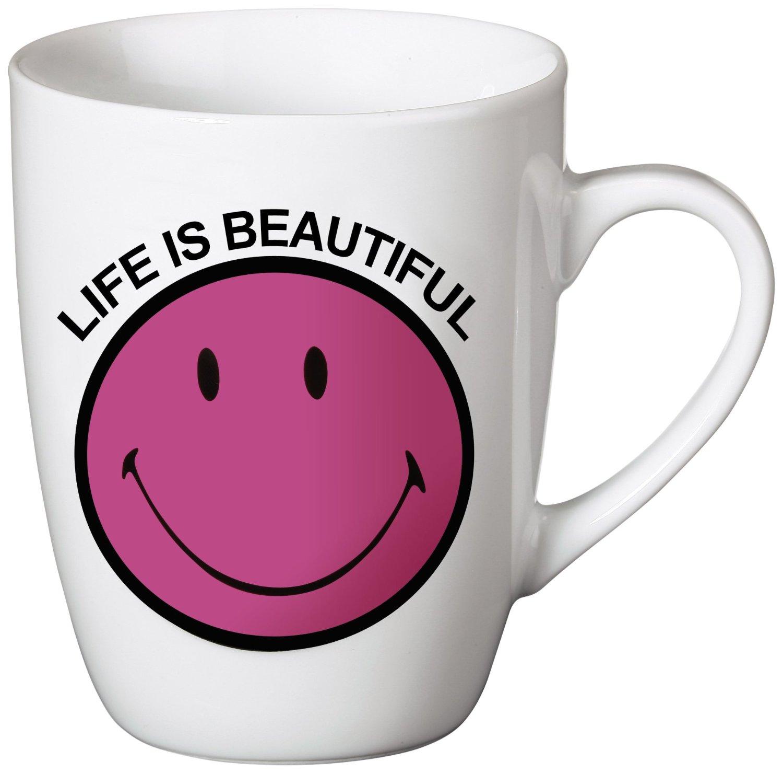 .amazon tazza rosa di Nici Life is beautiful – Tazza con scritta e smile in porcellana