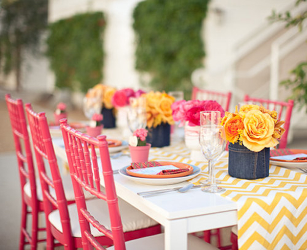 modern-yellow-chevron-wedding-pink-chairs