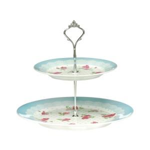.amazon piatti celeste Premier Housewares Piatto per torta a due piani,