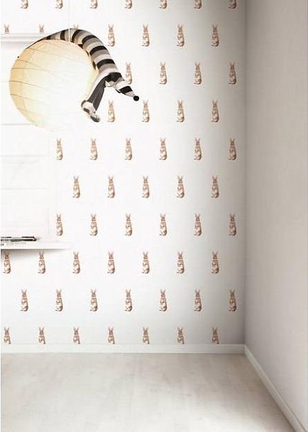 di kek-amsterdam bunnies-carta-da-parati-marrone-bianco su LEFliving.de 89.95€