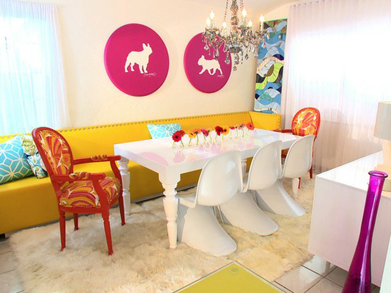 sedie e panca Colorful-Modern-Dining-Room-at-Awesome-Colorful-Dining-Room-Design-Ideas