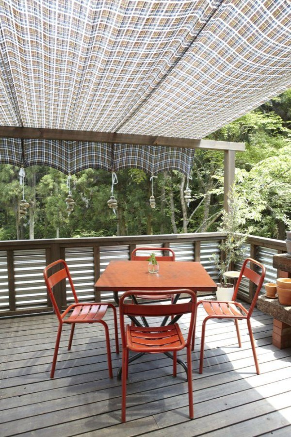 aaaenclosure-artistic-patio-sun-shade-structures-with-corrugated-zinc-sheets-on-deck-privacy-fence-and-mini-glass-plant-pots-also-orange-metal-patio-furniture-600x901