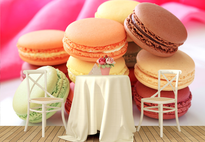 parete su www.wall-art.it fotomurale sweet macarons