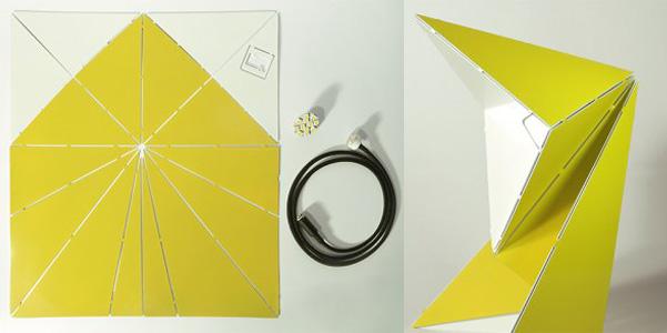 Lampada-origami sembra cartone ma è metallo ideata da mirco kirsch si chiama belt+sund