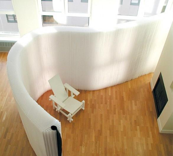 STANZA studio canadese Molo design realizzasistema chiamato softwall+softblock in tyvek Materiale riciclabile al 100 ottenuto da fibre riciclate al 15flessibile