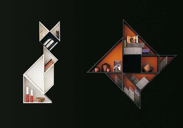 arredi Il concept della libreria Tangram di Lago, si rifà ad un antico gioco cinese composto da sette figure geometriche, ricavate dalla scomposizione di un quadrato