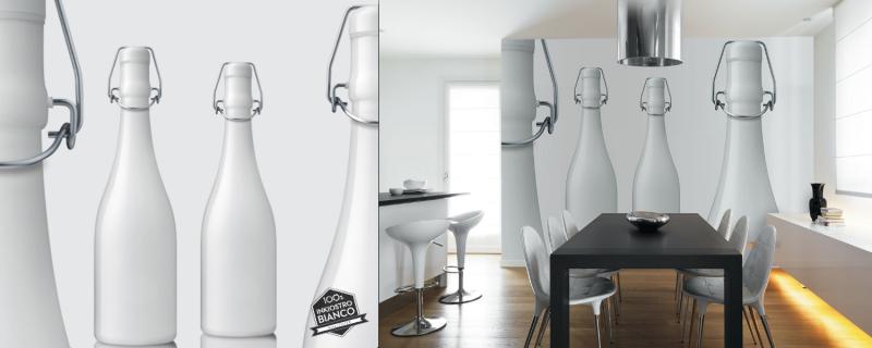 Carta Da Parati Bottiglie.Carta Da Parati Inkiostro Bianco Latte Architettura E Design A Roma