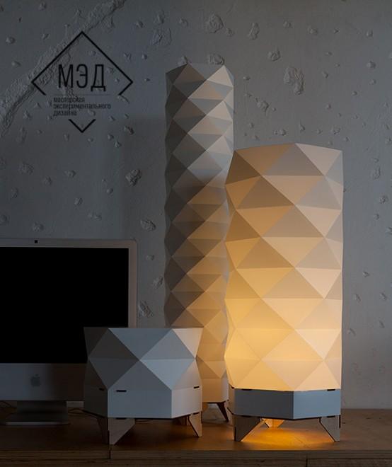 lamp mentre le lamp realizzate da MAD laboratorio sperimentale di designer russi si ispirano agli origami e all'arch societica iovannoni jungle