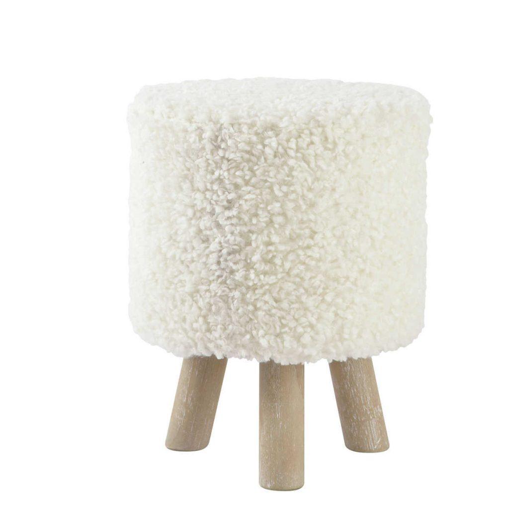 .maison du minde sembra una pecorella Sgabello pouf bianco in simil lana e legno ALPAGA 49.90