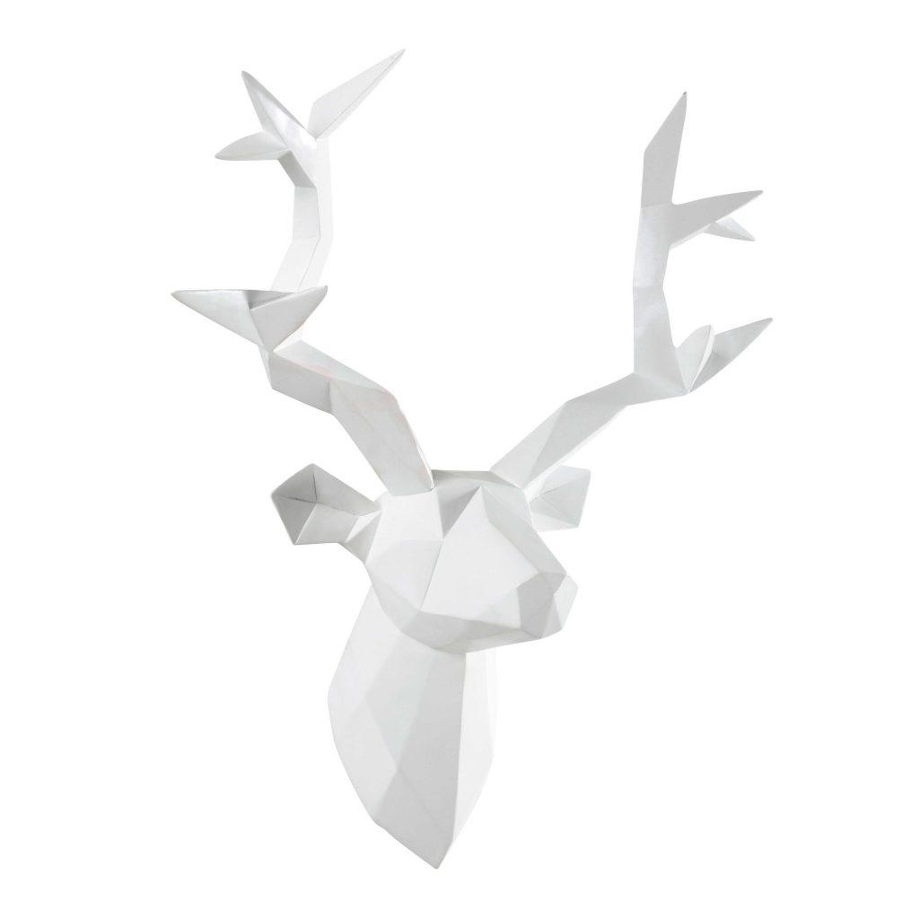 .maison du monde Decorazione testa di cervo in resina bianca 45 x 47 cm ORIGAMI 49.99