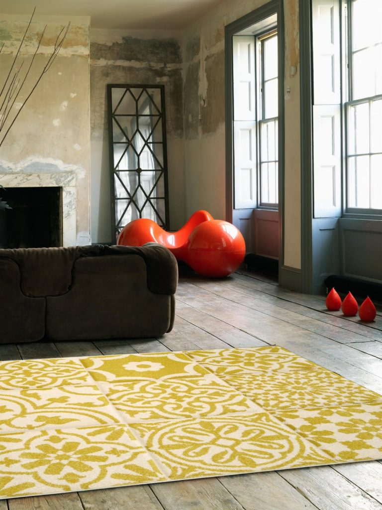 .amazon benuta Tappeto Patchwork-Mosaico Giallo 300x400 cm - 100% Polipropilene - Motivi in Rilievo - Tessuto a macchina - Soggiorno