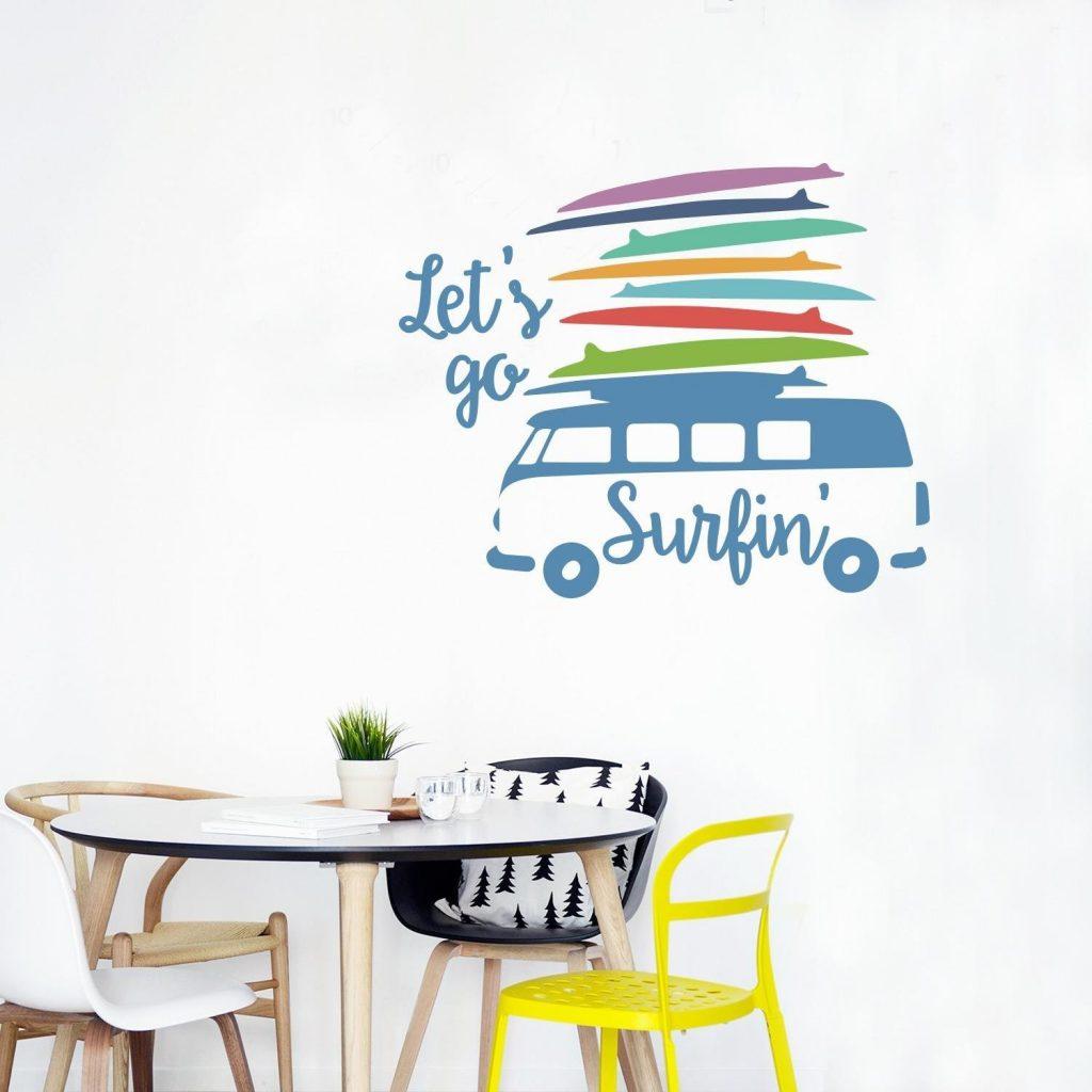 .amazon di Adesiviamo lo stickers - Let's go surfin- con Furgoncino Vintage con Tavole da Surf