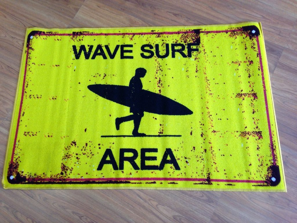 .amazon tappeto cameretta TEEN onde giallo 100 x 150 squalo surf club california usa ragazzi danger area