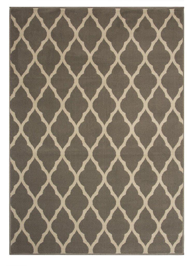 .anazon Tappeto Milan morbido e classico con motivo graticcio, colore grigio - 5 formati