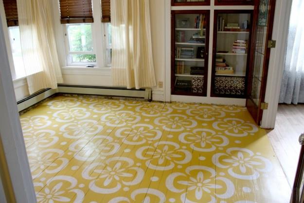 dipingere parquet stancil STENCIL pavimento-in-legno-bicolor