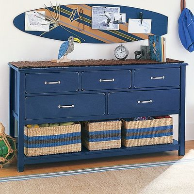 idea dresser-unique-idea-diy-shabby-chic-blue-hallway-design-decor-livingroom-inspiration-idea-beach-house-surf-board-accent