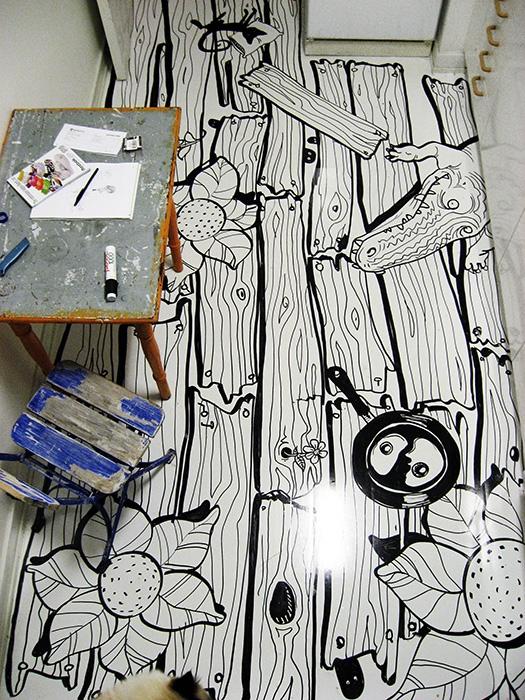 linoleum giovane creativo svedese Olle Hemmendorff sono bastati alcuni rotoli di vinile autoadesivo bianchi e pennarello indelebile. TUTORIAL