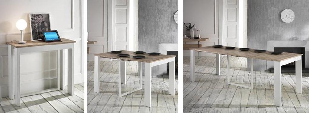 lucignolo-tavolo-consolle-allungabile piano in MDF finitura rovere e struttura in metallo verniciato.