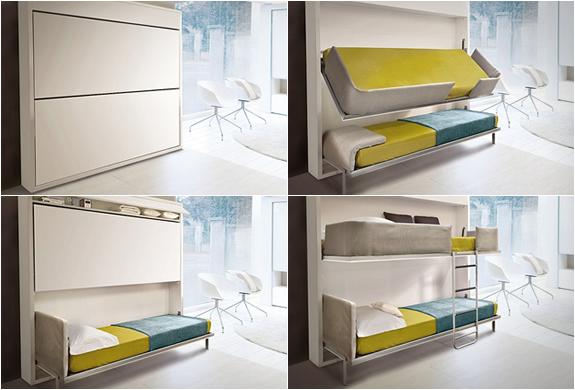 A SCOMPARSA originale Lollisoft Bunk Pull-Down Bed, un sistema di letti a castello a scomparsa racchiuso un un mobile a muro sobrio ed elegante. di giulio manzoni
