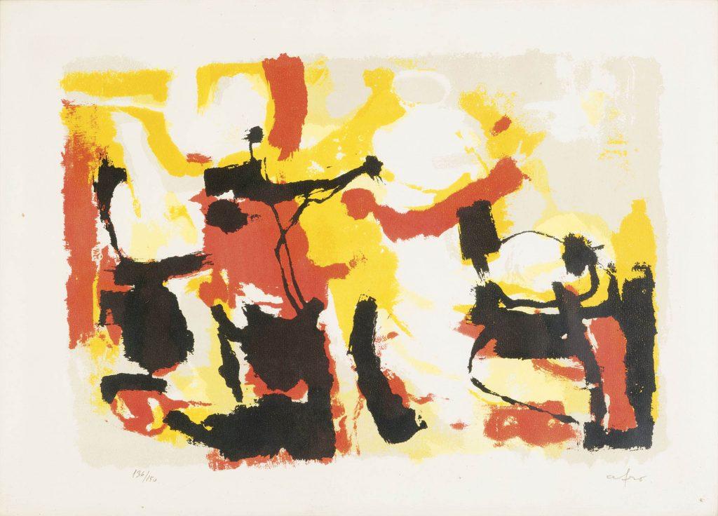 Afro composizionelitografia a colori firmata