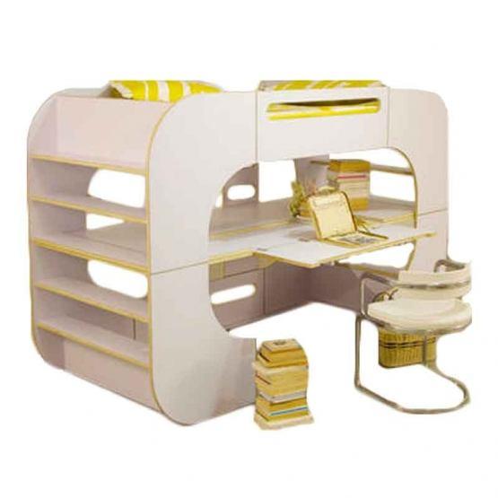 DESIGN originale letto, libreria, spazio gioco e studio! Il letto a castello apparentemente statico e ingombrante in realtà racchiude diverse funzioni. Io bunk pod versione avanzata