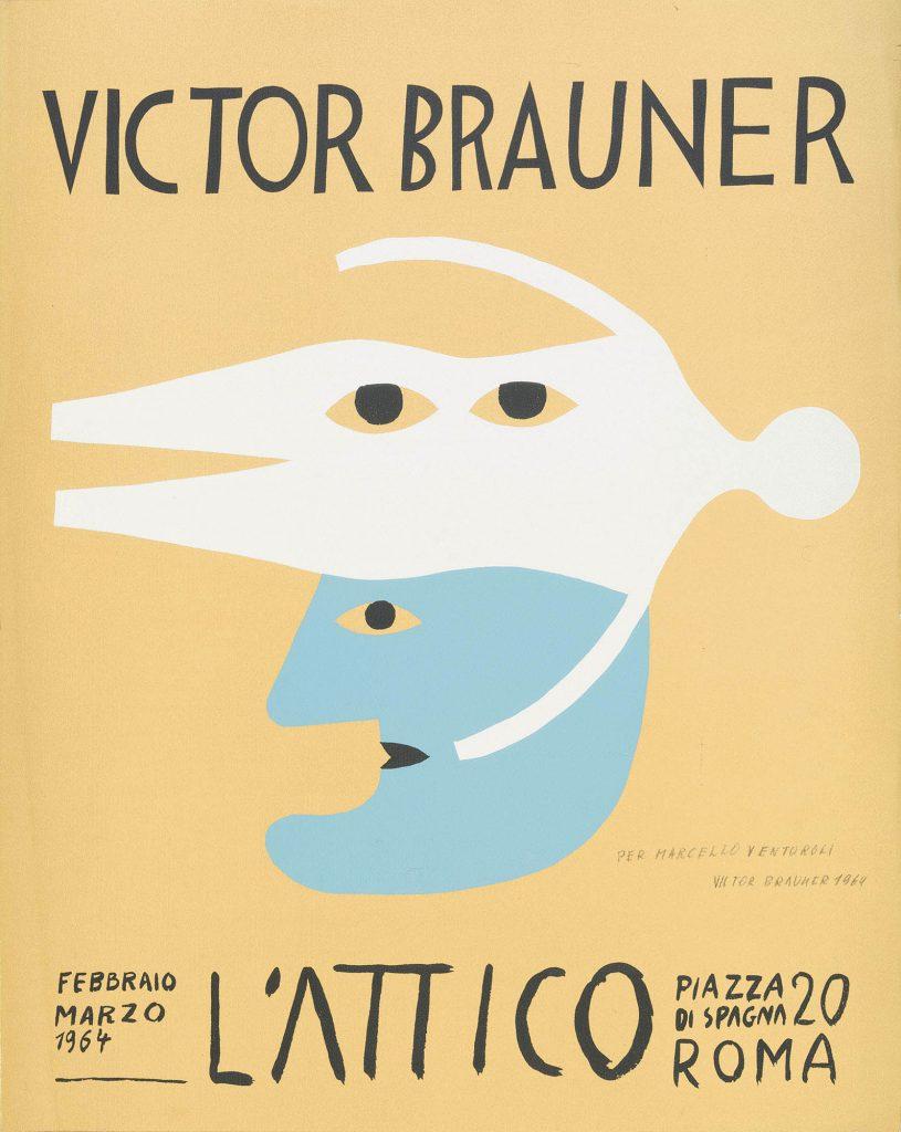 Manifesto per l'Attico del 1964 di Victor Brauner. Stampa offsett 63x50cm con dedica firmata a Marcello Venturali