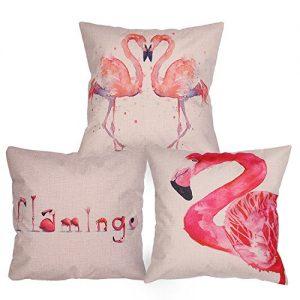 .amaon Luxbon 3 STK. Fenicotteri Uccelli lino federa cuscino lombare cuscino letto cuscino wcase cellulare casa divano sedia stanza auto decorazione 45 x 45 cm