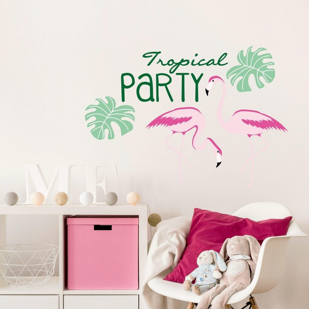 .amazon Adesiviamo® Tropical Party Flamingos Fenicotteri Wall Sticker Adesivo Murale