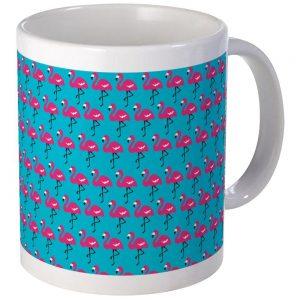 .amazon CafePress Unique-Marching-Tazza con fenicotteri, colore foglia di tè, colore bianco, Ceramica, Bianco, s