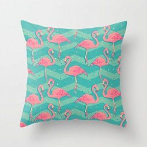 .amazon cuscini con fenicotteri di duanleyi Fenicotteri, in tela, con chiusura a zip, cuscino, federa cuscino