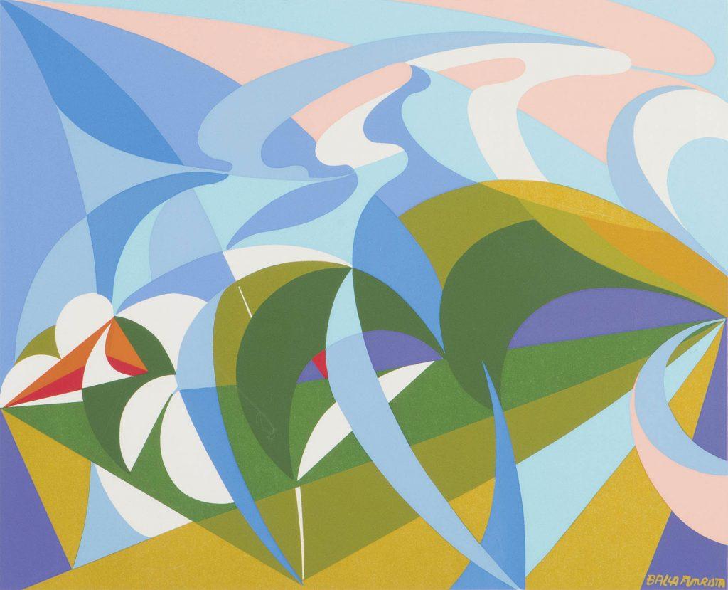 giacomo balla colpo di fucile domenicale serigrafia a colori con firma e timbro a secco dell'edizione area studio e di balla futurista