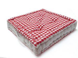 .amazon Cuscino da pavimento in cotone VICHY rosso