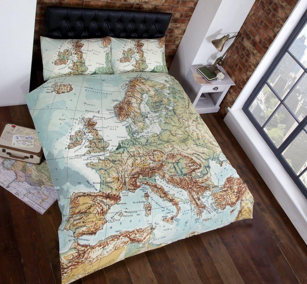 .amazon Set copripiumino per letti king con mappe vintage mappamondo blu,verde,marrone,bianco
