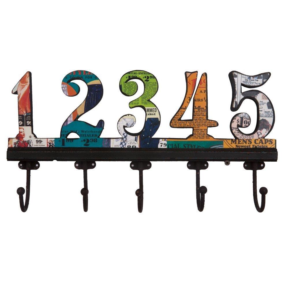 .amazon di NIKKY HOME Appendiabiti da Parete con Ganci Attaccapanni a Muro per Vestito Asciugamano Cappello Vintage in Metallo e Legno 1-5 Numeri Arabi Multicolore