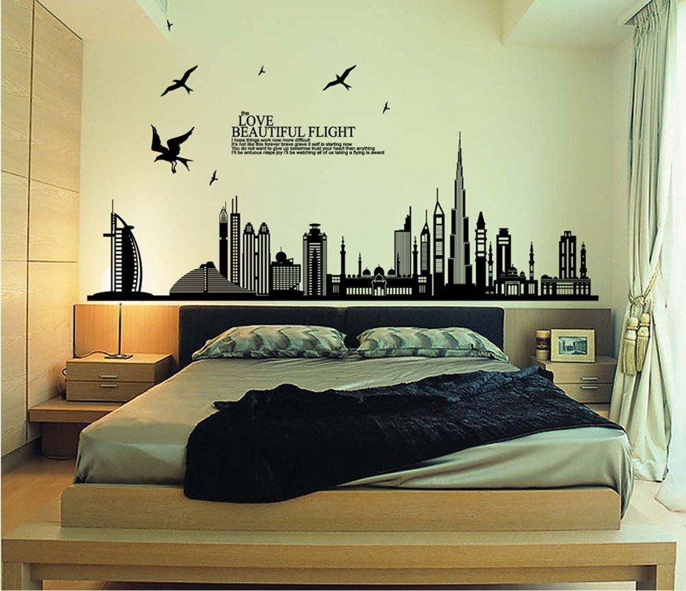 Adesivi Murali Low Cost.Amazon Ufengke Citta Nera Silhouette Paesaggio Urbano Grattacielo