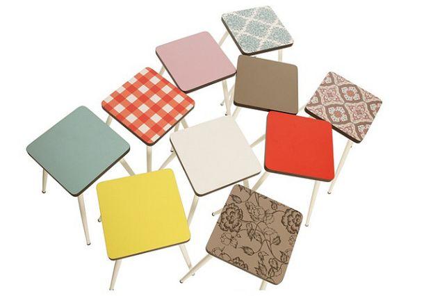 design sedie les gambettes propone arredi dal sapore retrò per piccoli e grandi coin struttura in multistrato e finitura in laminato e base in acciaio verniciato che ric