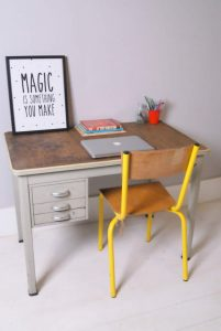 vintage banco SCRITTOIO IN METALLO CON PIANO IN LEGNO VINTAGE DI www.blueticking.co.uk