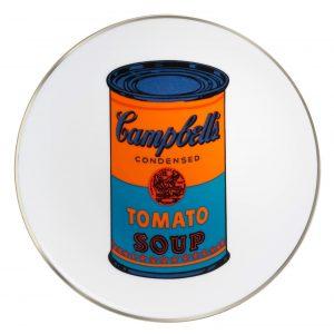"""Assiette décorée au motif d'Andy Warhol """"Campbell's Soup"""". By Ligne Blanche Paris, porcelaine de Limoges, Made in France."""