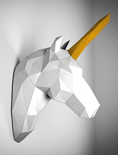 amazon-animali-trofeo-in-cartoncino-unicorno-bianco-e-oro-papertrophy